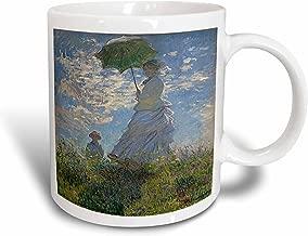 3dRose mug_179210_2 Woman with a Parasol, Camille and Jean Monet, Claude Monet 1875, Pd-Us Ceramic Mug, 15-Ounce