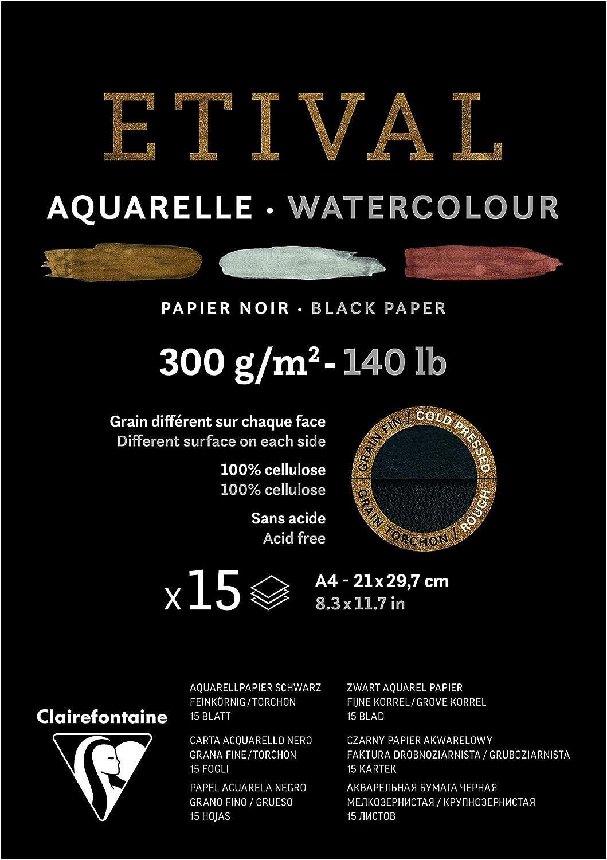 12 x 18 cm Bloc de espiral de papel acuarela fuente 12 hojas de grano fino negro 300 g Clairefontaine 975310C