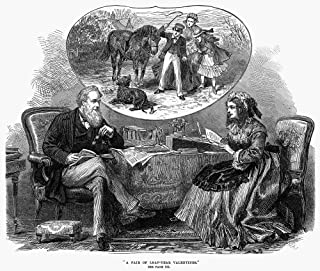 Posterazzi Poster Print Collection Couple N'a Pair of Leap-Year Valentines.' English Wood Engraving 1872, (18 x 24), Multicolored
