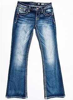 Miss Me Girls' Floral Flap Pocket Boot Cut Jeans - K3459b