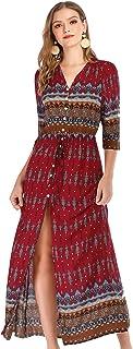 R.Vivimos Women's Button Up Floral Print Split Beach Maxi Dresses