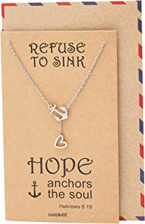 New Anchor Necklace, Sailor Pendant with Mini Heart Charm, Seaman Lariat Necklace, Sea Anchor Inspirational Quote on Greeting Card