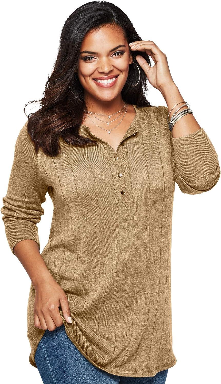 Roamans Women's Plus Size Fine Gauge Drop Needle Henley Sweater