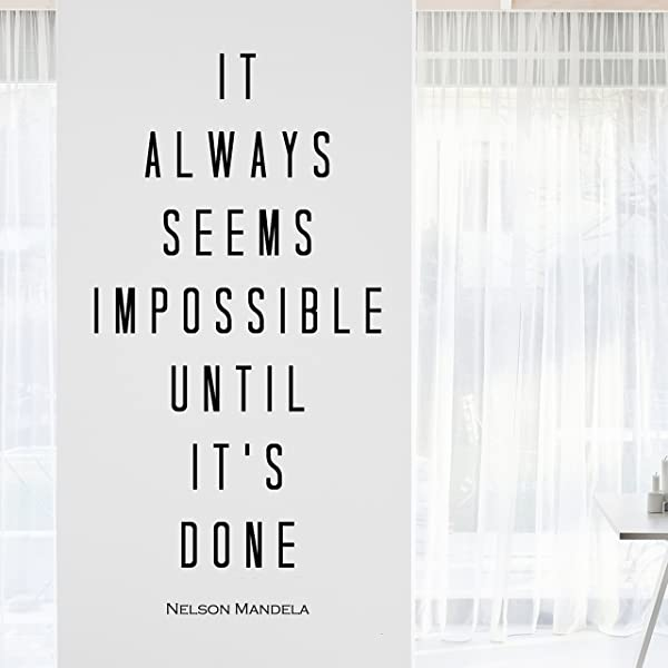 My Vinyl Story Nelson Mandela Impossible Inspirational Motivational Wall Art Decal Quote For Staying Inspired Motivated Focused Positive Office Decor Words And Saying Encouragement Gift 33x17 In
