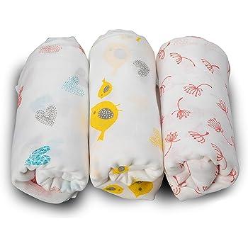 LuvLap 100% Cotton Muslin Baby Swaddles - Birds Print 0+ Month, White