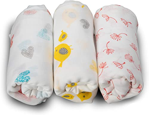 LuvLap 100% Cotton Muslin Baby Swaddles - Birds Print 0+ Month, White
