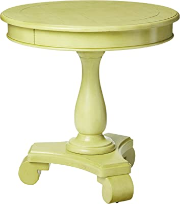 OSP Home Furnishings Avalon Hand Painted Round Accent Table, Antique Celadon