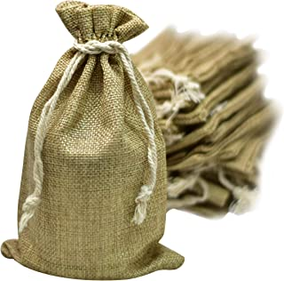50 Burlap Bags with Drawstring, 5x8 Inch (5x7 Internal) Gift Bag Bulk Pack - Wedding Party Favors, Jewelry and Treat Pouches (Brown)
