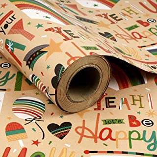 RUSPEPA Kraft Wrapping Paper Roll - Birthday Theme Design Great for Birthday, Party, Baby Shower Wrap - 24Inch X 100Feet