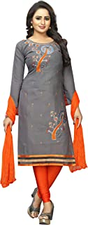 LUGDA Women's Vastra Cotton Embroidery Semi-stitched Salwar Suit (VAS FIVEDIAMOND, Grey, Free Size)