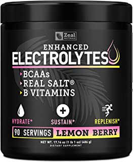 Electrolyte Powder Recovery Drink (90 Servings | Lemon Berry) w Real Salt +BCAAs +B-Vitamins Sugar Free Ele...