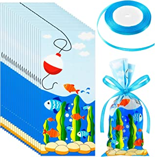 100 Pieces Fishing Party Cellophane Bags Fish Hook Seaweed Treat Bags with a Roll of Blue Ribbon for Candy Chocolate Snack...