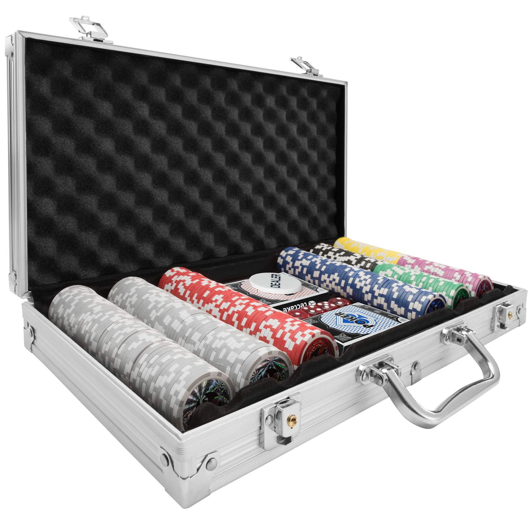 TecTake Maletín de Póker Aluminio con fichas láser Poker Chips | Plateado | Incl. 5 Dados + 2 Barajas de Cartas + 1 ficha de Dealer (300 Pieza | Plateado | no. 402557): Amazon.es: Juguetes y juegos