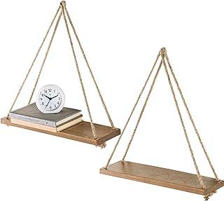 MyGift 17-Inch Light Burnt Wood Hanging Swing Rope Floating Shelves, Set of 2, Brown
