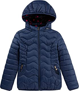 Girls Reversible Rainbow Heart Puffer Jacket with Hooded Coat