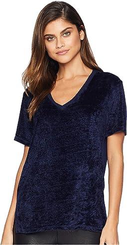 Velvet Short Sleeve V-Neck Slouchy Tee