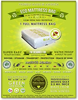 2 Full Size Mattress Bags. Fits All Pillow Tops and Box Springs. Ideal for Moving, Storage and Protecting Your Mattress. Heavy Duty Professional Grade. Easy to Slip on and Seal. Sleep with Peace of Mind and Don't Let the Bed Bugs Bite. Protect Your Investment with Our American Made, World Famous, 5 Star Rated, Eco Friendly Mattress Protection.