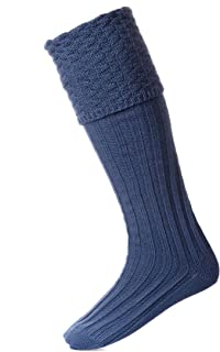 House of Cheviot Ancient Blue Bubble Top Pipe Band Piper Knit Merino Wool Kilt Hose Socks