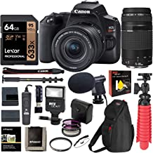 Canon SL3 DSLR Camera with 18-55mm is STM & 75-300mm Lens, U3 64GB Memory, Bag, Flash, Monopod, and Cleaning Kit Bundle