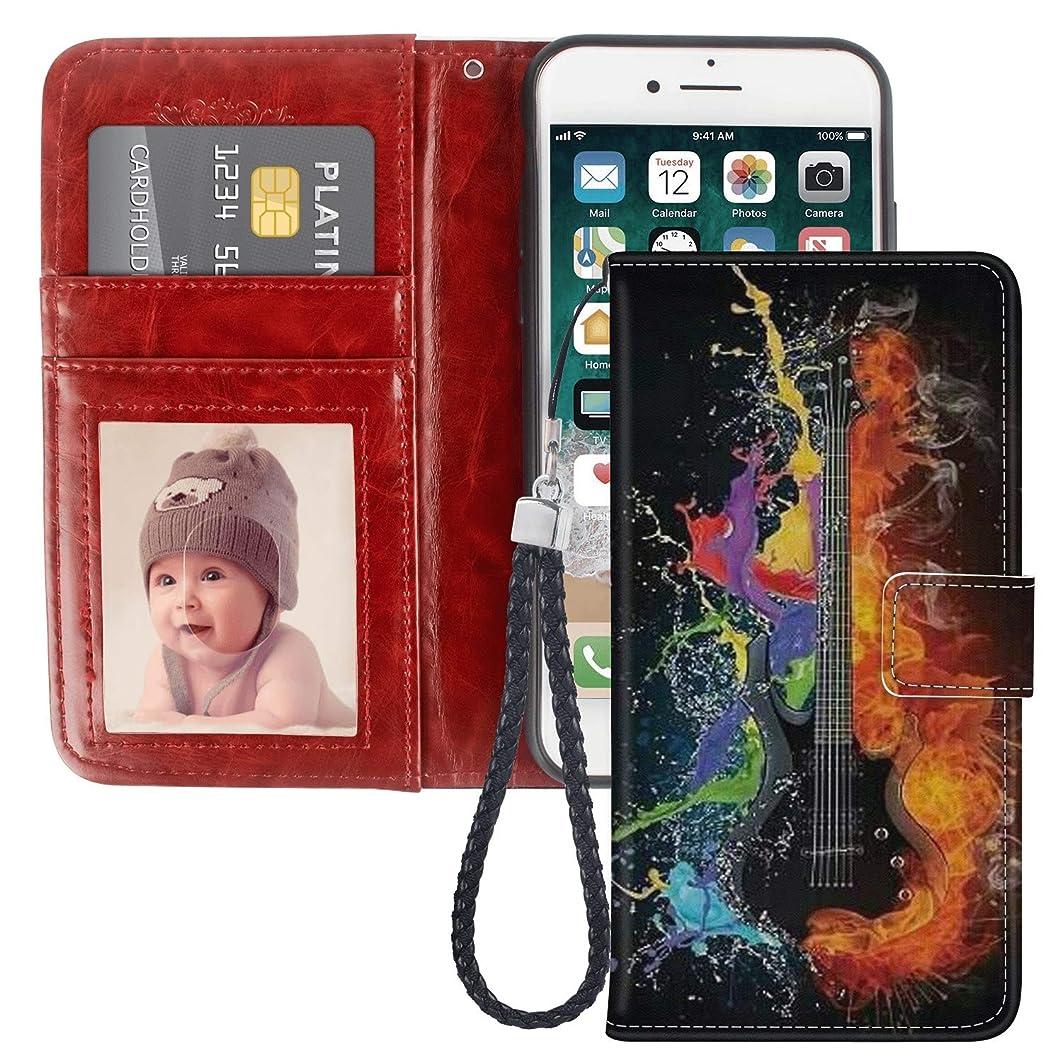 iPhone 7 8 Guitar Art Design Wallet Case Leather Cover Shock-Proof and Multi-Slots Flip Card Holder Pocket Case for iPhone 7 8 LingHan