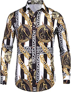 Mens Long Sleeve Fashion Luxury Design Print Dress Shirt