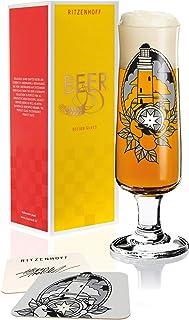 Ritzenhoff Beer Bierglas von Tobias Tietchen Lighthouse, aus Kristallglas, 390 ml, mit fünf Bierdeckeln