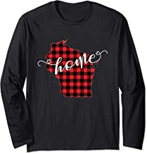 Wisconsin WI State Outline Home Winter Red Buffalo Plaid Long Sleeve T-Shirt