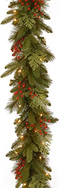 National Tree Company 'Feel Real' Pre-lit Artificial Christmas Garland | Flocked with Mixed Decorations and Lights | Classica