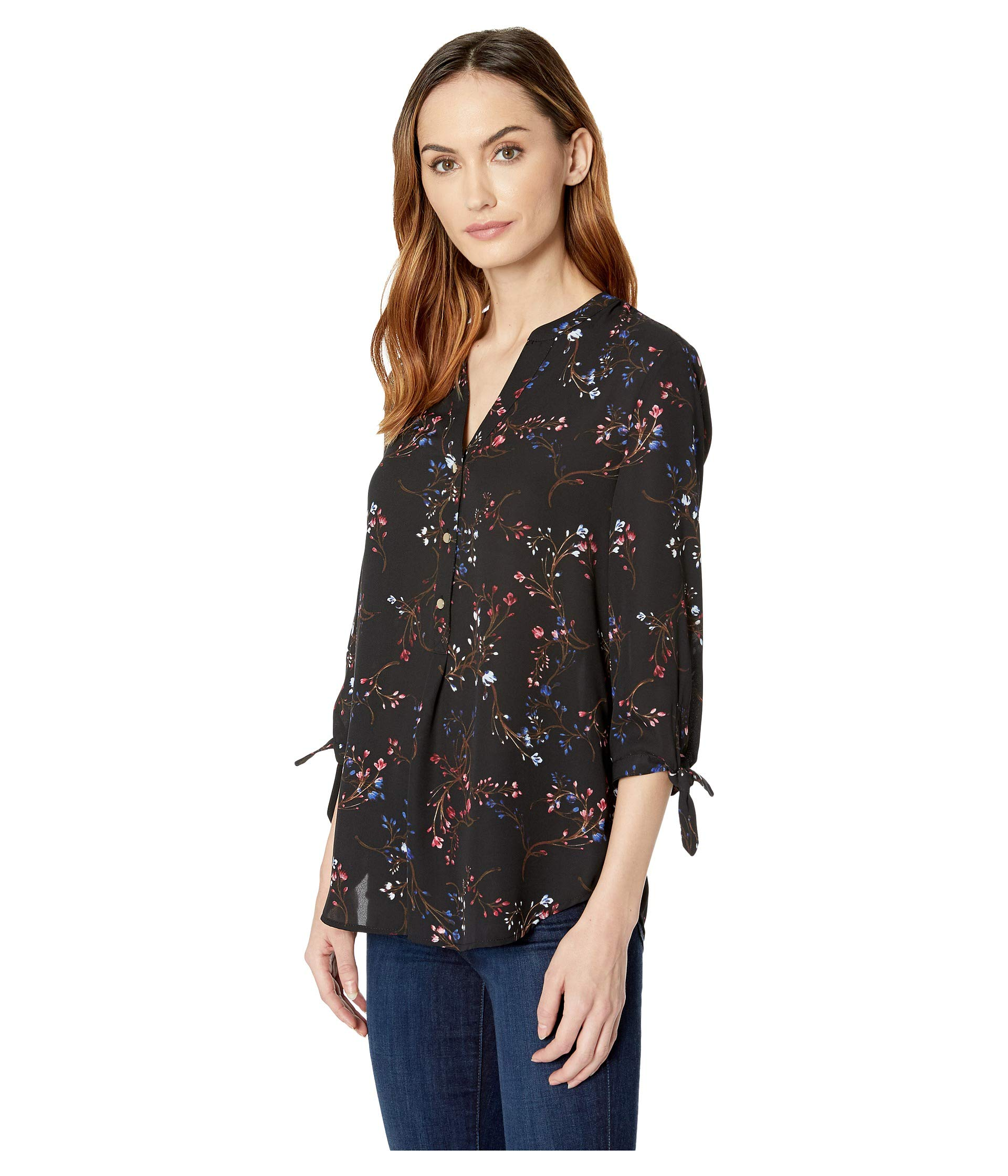 Tie ruby Sleeve Ivanka Blouse Printed Trump Long Black wx6AqOH