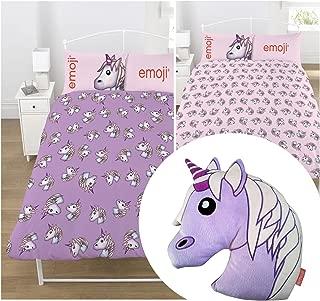 Emoji Unicorn UK Double/US Full Duvet Cover Set + Matching Emoji Unicorn Embroidered Cushion