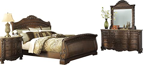 Ashley North Shore 4PC Bedroom Set Queen Sleigh Bed Dresser Mirror One Nightstand in Dark Brown