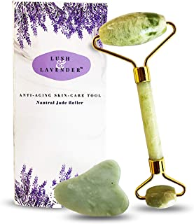 Jade Roller and Gua Sha Set by Lush and Lavender - Wrinkle Anti-Aging Treatment – Jade Facial Roller Detox - Face Eye Body Neck Massage - Beautiful Facial Skin Tightening - Real Jade Stone with Ebook