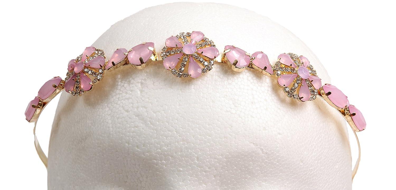 Caravan Pink and Gold Tone Headband with Swarovski Rhine Stone, 0.5 Ounce