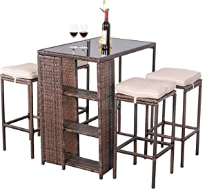 Aura Outdoor 5 Piece Patio Bar Set, Bar Height Outdoor Dining Set, Counter Height Patio Dining Set of 5, High Top Wicker Bar Stools and Table Outdoor Bar Set with Cushions - Brown,Rattan, Steel
