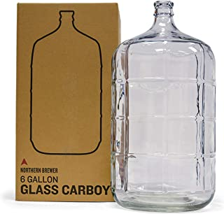 Glass Carboy Fermenter for Beer Brewing, Wine Making, Fermentation (6 Gallon)