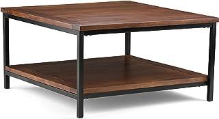 SIMPLIHOME Skyler SOLID MANGO WOOD and Metal 34 inch Wide Square Modern Industrial Coffee Table in Dark Cognac Brown, for ...