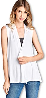 Women's Soft Solid Sleeveless Bamboo Layering Vest Cardigan Sweater -Made in USA
