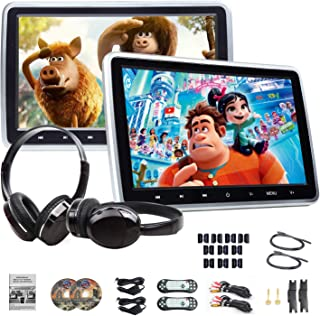 DVD Player Portable DVD Player 10.1'' Dual Car DVD Players with 2 Headphones Car Headrest Monitors Eonon C1100A for Kids Support Same/Different Video Playing/AV Out & in HDMI USB SD Port Touch Button