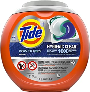 Tide Hygienic Clean Heavy 10x Duty Power PODS Liquid Laundry Detergent, Original, 21 count (Packaging may vary)