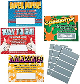 Fun Express - Scratch Reward Cards - Stationery - Cards - Note Cards - 48 Pieces