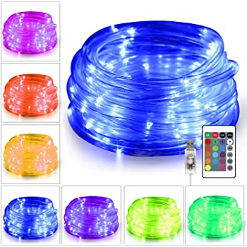 KNONEW 100 LED Rope Lights 32.8-Foot 16 Colors Changing Lights with Remote, USB Powered Rope Tube Fairy Light Indoor Decorative Lighting for Wedding Christmas Party Waterproof Outdoor Decorations