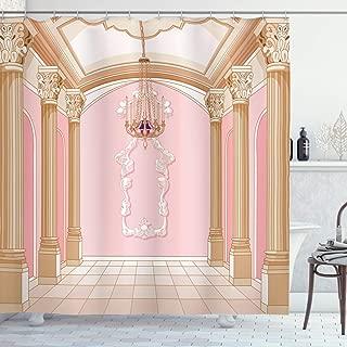 Ambesonne Princess Shower Curtain, Interior of The Ballroom Magic Castle Chandelier Ceiling Columns Kingdom Print, Cloth Fabric Bathroom Decor Set with Hooks, 75