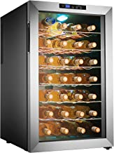 Electro Boss 28 Bottle Wine Cooler Thermoelectric Stainless-Steel Fridge for Red or White, Digital Display, Reversible Glass Door, Model #5335, Silver