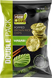 Rice up Wholegrain Brown Rice Chips Wasabi, 120 gm (Pack of 1)