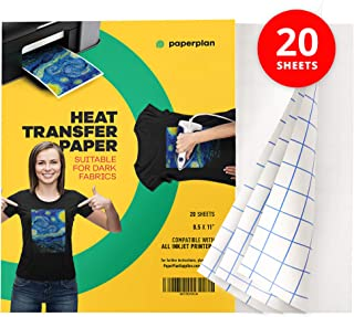 Dark Transfer Paper For T Shirts (20 Sheets) - 8.5 x 11 - Iron On Transfer Paper For Dark Fabric - Heat Transfer Paper For Dark Fabric - Inkjet Printable - Heat Press - Sublimation Paper // Paper Plan