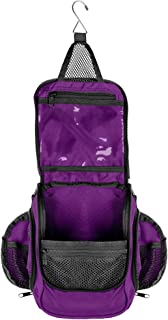 Compact Hanging Toiletry Bag & Organizer | Water Resistant Mesh Pockets Sturdy Hook-Purple