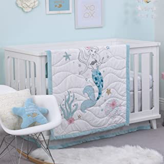 Disney Ariel Sea Princess 3 Piece Crib Bedding Set, Blue/White/Gold/Pink
