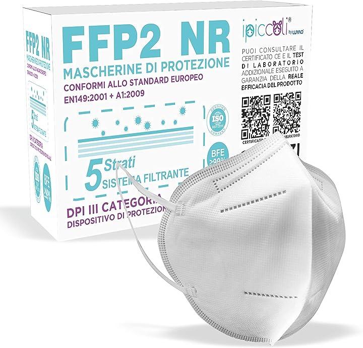 Mascherine ffp2 certificate ce, mascherina certificata ffp2 kn95 con bfe -  99% - 10 pezzi FFP2-LN900-IPICCOLI