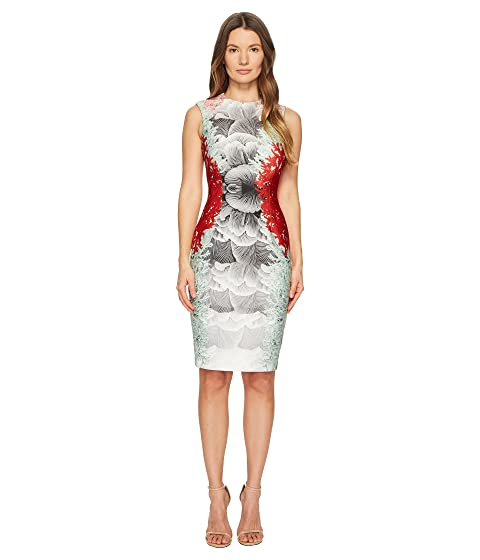 YIGAL AZROUËL Coral Printed Scuba Dress