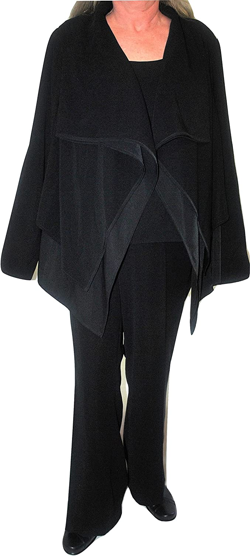 Kasper London Bridge 3 Piece Pant Suit Black 18W